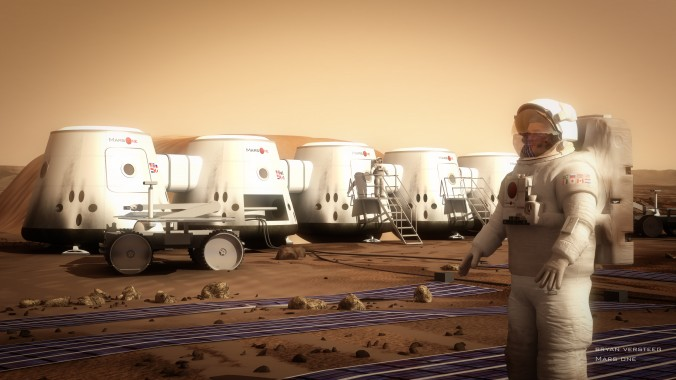 An artist's rendering of the planned Mars One settlement. Mars One is a space mission that aims to establish a human colony on the red planet. (Brian Versteeg/Mars One)