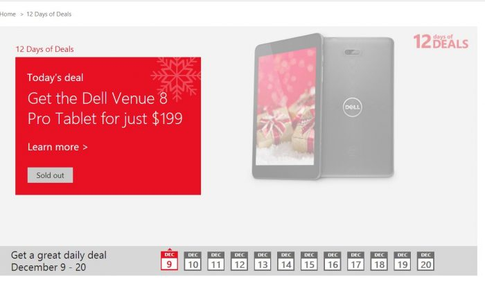 "A screenshot of the Microsoft Store's website shows the ""12 Days of Deals."""