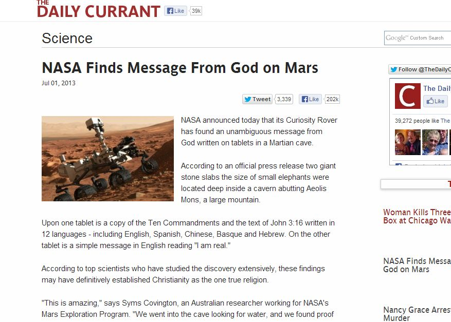 nasa finds message from god on mars - 877×627