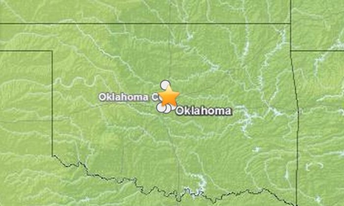 A screenshot of the USGS map shows where the quake struck in Oklahoma.
