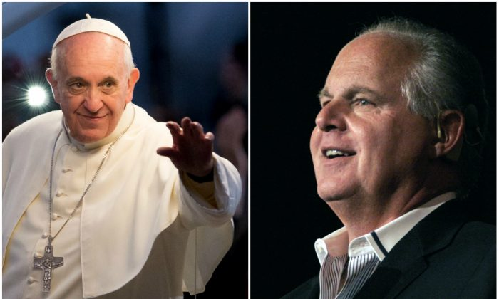 Pope Francis, left, and Rush Limbaugh. (Buda Mendes/Getty Images; Bill Pugliano/Getty Images)