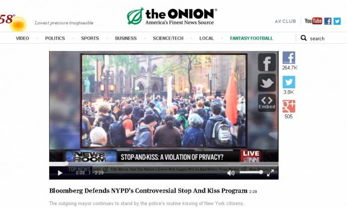 """A screenshot of """"The Onion"""" shows the satire about the NYPD's """"Stop and Kiss"""" program."""