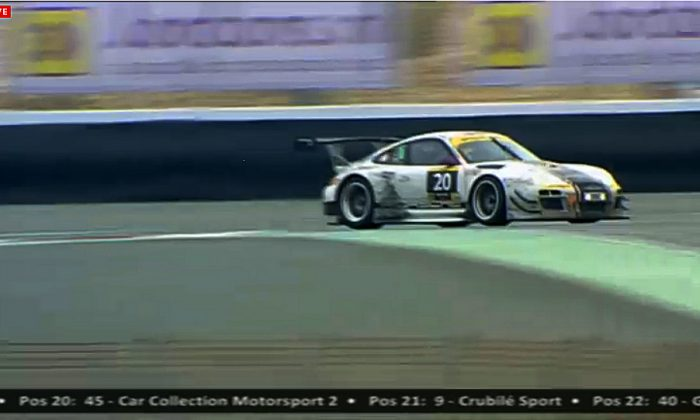 The #20 Stadler Porsche inherited the lead with six-and-a-half hours left in the Dunlop Dubai 24. (screenshot from http://live.24hseries.com)