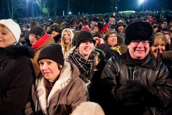 HOG WAITING: A crowd of an estimated 15,000 awaits Punxsutawny Phil's emergence at Gobbler's Knob. (Jan Jekielek/The Epoch Times)