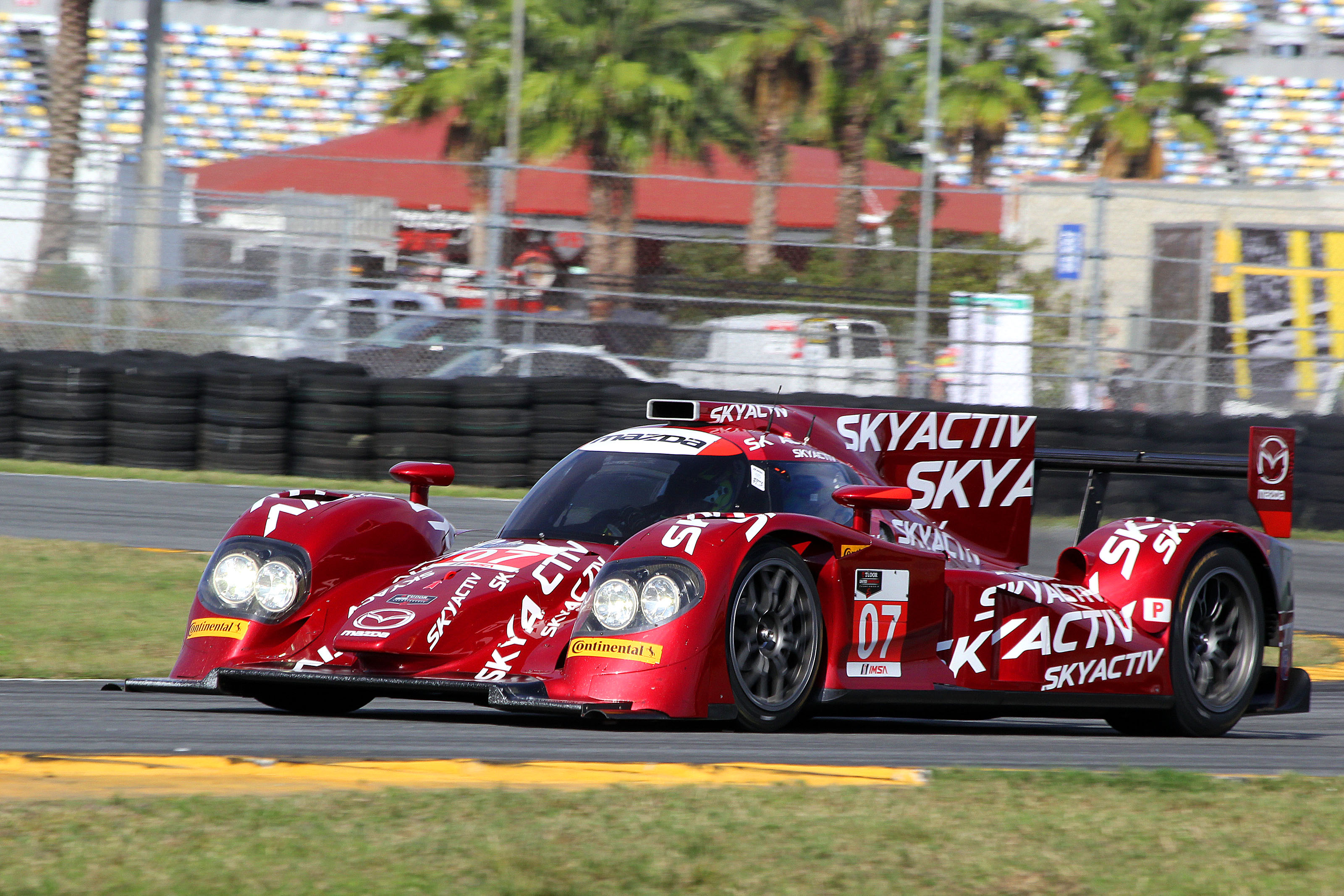 The #07 Mazda SkyActiv diesel P2 spun exiting the East Horseshoe Friday morning (with Joel Miller at the wheel, according to Marshall Pruett,) possibly because of the cold conditions or possibly because of driveshaft failure. (Chris Jasurek/Epoch Times)