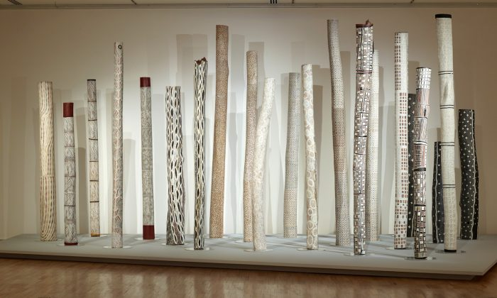 Burial poles, or larrakitj, were highly decorated and traditionally used to hold the bones of the deceased. (Shar Adams/The Epoch Times)