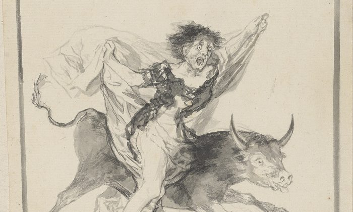 """A selection from """"Pesadilla (Nightmare),"""" ca. 1816–20, by Francisco Goya (1746–1828). The woman and bull represent Europe, which at the time of this drawing was feeling the aftermath of the Peninsular War. (Graham S. Haber/The Morgan Library and Museum)"""
