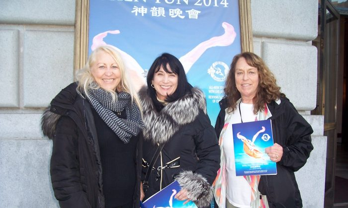 "L-R) Carol Smith, Jan Coleman-Knight, and Marlene Van Vooren found ""balance, harmony, and enlightenment"" in Shen Yun Performing Arts at the War Memorial Opera House in San Francisco, Jan. 8. (Catherine Yang/Epoch Times)"