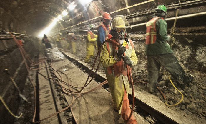 MTA workers working on Montague Tunnel repairs, November, 2012. (MTA/Patrick Cashin)