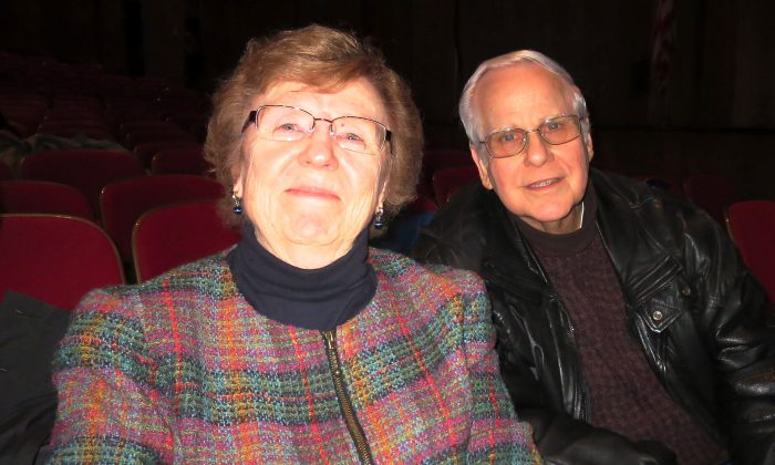 Mr. and Mrs. Mitton enjoy Shen Yun Performing Arts at Portland's Keller Auditorium, on Jan. 18. (Lauren DePhillips/Epoch Times)