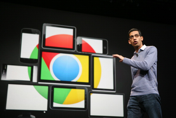 Sundar Pichai, senior vice president of Chrome, speaks at Google's annual developer conference. (Kim Hoshin /Getty Images)