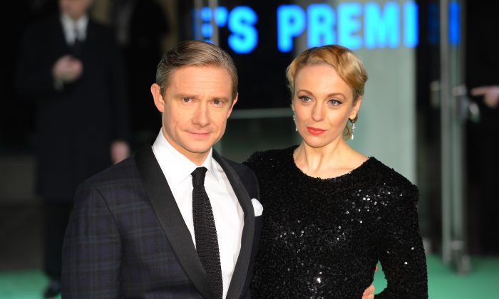 Amanda Abbington, who appeared in Sherlock, with partner Martin Freeman in a file photo. (Leon Neal/AFP/Getty Images)