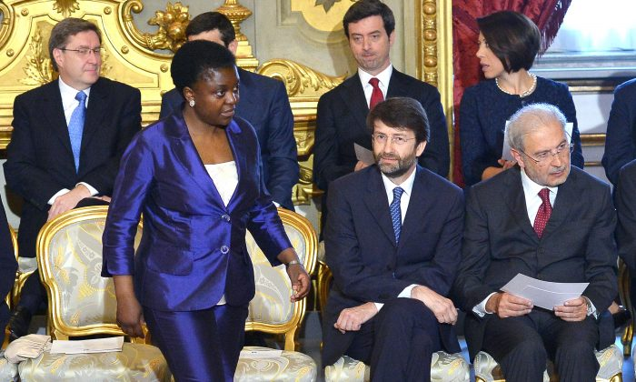 Italy's Integration Minister Cecile Kyenge (L) during the swearing-in ceremony of the government in Rome, April 28, 2013. (Vincenzo Pinto/AFP/Getty Images)