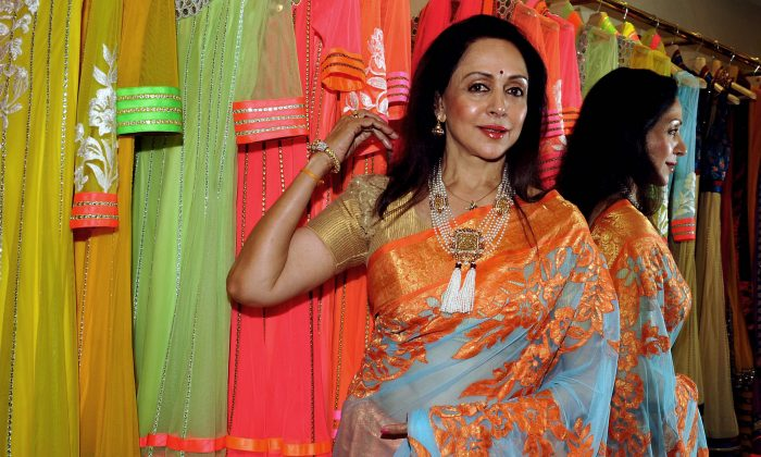Indian Bollywood film actress Hema Malini in a file photo. Malini says she's excited for her daughter's wedding. (STR/AFP/Getty Images)