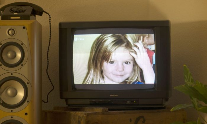 Photo of British girl Madeleine McCann, AKA Maddie is displayed on a TV screen at an apartment in Berlin, Germany, on Oct. 16, 2013 during the broadcast of German ZDF's 'Aktenzeichen XY' program. ( JOHANNES EISELE/AFP/Getty Images)