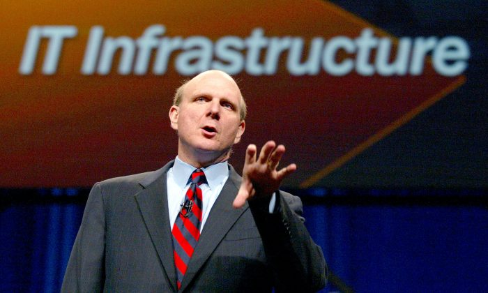 Microsoft CEO Steve Ballmer delivers the keynote address for the global launch of Windows Server (Justin Sullivan/Getty Images)