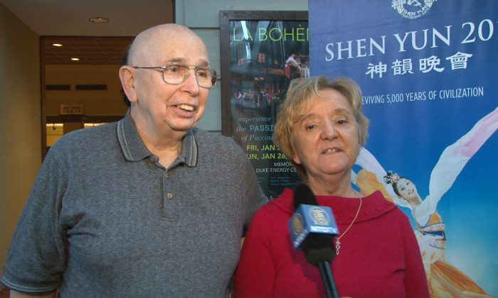 Don and Martha Ellington enjoy Shen Yun Performing Arts at the Duke Energy Center for the Performing Arts, in Raleigh. (Courtesy of NTD Television)