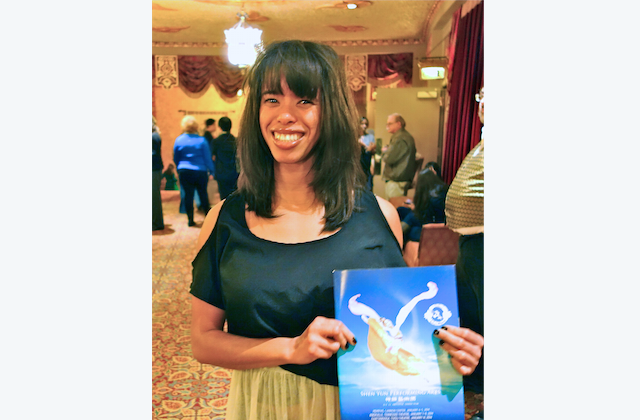 During Shen Yun's intermission on Jan. 7, Koura Wright glided through the Tennessee Theatre mezzanine with a friend, smiling and talking. (Mary Silver/Epoch Times)