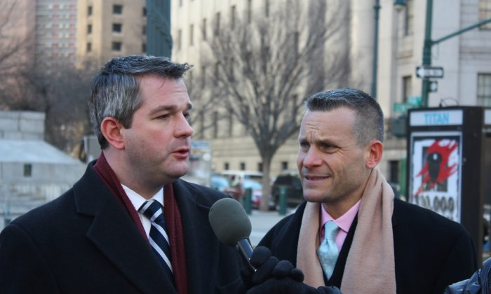 Patrick Kennell (L) with his attorney, Steven Sladkus, outside the New York State Supreme Court Building in Lower Manhattan, New York, Jan. 7, 2014. (Jane Gray/Epoch Times)