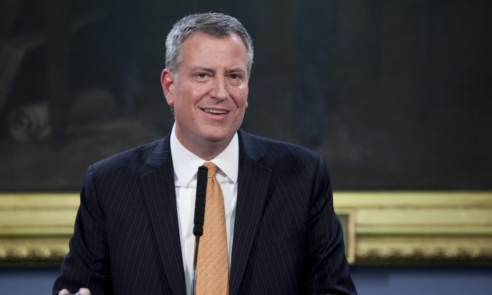 Mayor Bill de Blasio at New York City Hall on Jan. 7, 2014. He plans to unveil the next step in his income inequality campaign next week. (Samira Bouaou/Epoch Times)