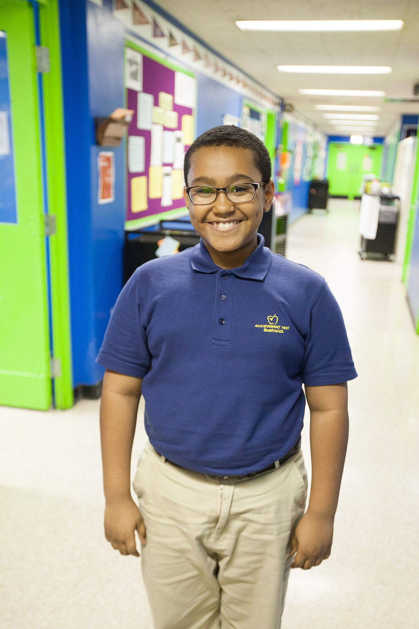 Fifth grade student Clive Campbell at Achievement First Charter School in Bushwick, Jan 30, 2014. (Petr Svab/Epoch Times)