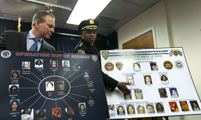 New York Attorney General Eric Schneiderman (L) looks on as New York City Police Department Chief of Department Philip Banks describes a chart during a news conference, in New York, Jan. 30, 2014. (AP Photo)