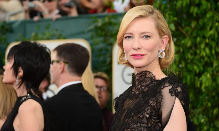 Cate Blanchett arrives on the red carpet of the 71st Annual Golden Globe Awards in Beverly Hills, California, on January 12, 2014. (FREDERIC J. BROWN/AFP/Getty Images)