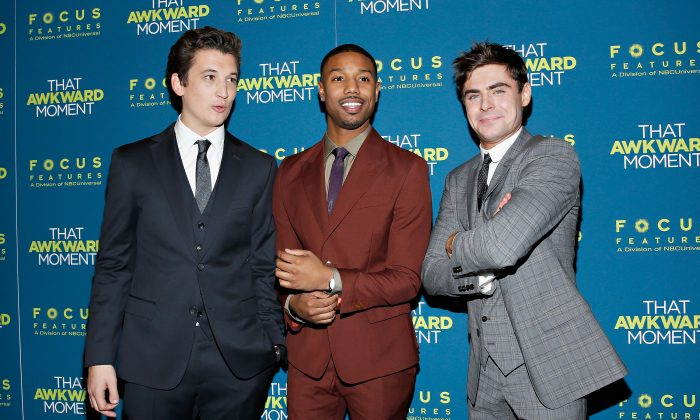 "Miles Teller, left, and Michael B. Jordan have been connected to roles in the Fantastic Four reboot. They're pictured here with Zac Efron at a recent screening for ""The Awkward Moment."" (Cindy Ord/Getty Images)"