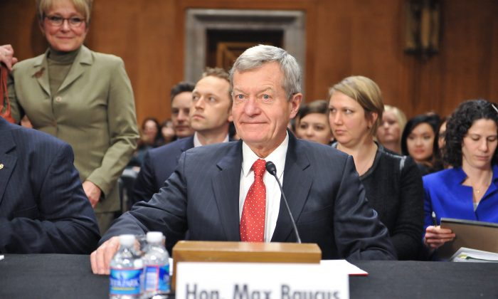 U.S. Senator Max Baucus prepares to testify before the Senate Foreign Relations Committee for his confirmation to become the next U.S. Ambassador to China on Capitol Hill in Washington, DC on Jan. 28, 2014. (NICHOLAS KAMM/AFP/Getty Images)