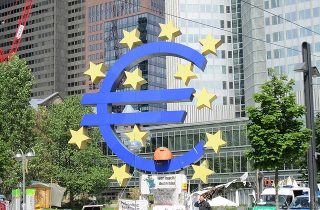 Protestors at the European Central Bank in Frankfurt (Eoghan OLionnain)