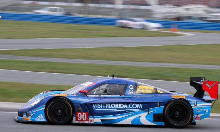 The #90 Spirit of Daytona Racing Coyote-Corvette was quickest in Saturday morning's session of the TUSCC Roar Before the 24. (Chris Jasurek/Epoch Times)