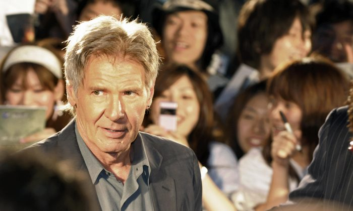 """Harrison Ford at the premiere of """"Indiana Jones and the Kingdom of the Crystal Skull"""" in 2008 in Tokyo. (Toshifumi Kitamura/AFP/Getty Images)"""
