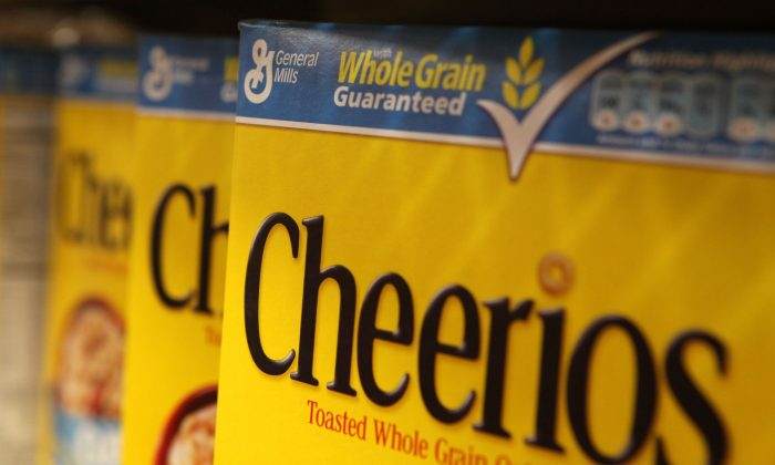 Boxes of Cheerios cereal, made by General Mills, sit on the shelf at a grocery store September 23, 2009 in Berkeley, California. (Photo by Justin Sullivan/Getty Images)