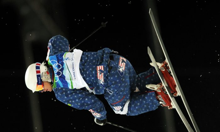 Bronze medallist Byron Wilson of the US goes airborne off the second ramp during the Men's Moguls Freestyle Skiing Final at Cypress Mountain during the Vancouver Winter Olympics, north of Vancouver on February 14, 2010. (Adrian Dennis/AFP/Getty Images)