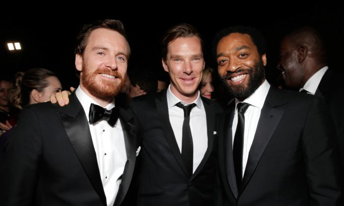 Michael Fassbender, Benedict Cumberbatch, and Chiwetel Ejiofor, who are all being considered for roles in Star Wars Episode VII. (Todd Williamson/Invision for FOX Broadcasting Company/AP Images