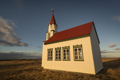 A church in Alftanes, Iceland. A road that would have run from  Reykjavik to the Alftanes peninsula will no longer be built, because of the possibility that elves live along the way. (Shutterstock*)