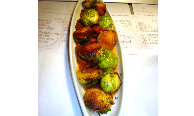 Pan-roasted Brussels sprouts with chorizo. (Courtesy of Boqueria)