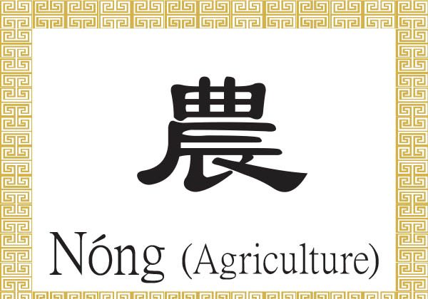 The two components of the Chinese character for agriculture together convey the idea of a farmer using a hoe to work in the field. (Epoch Times)