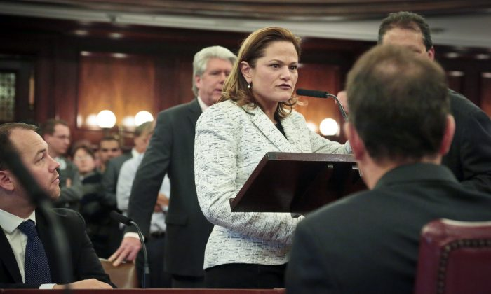 New City Council Speaker Melissa Mark-Viverito (C) conducts her first business of the council following her confirmation at New York City Hall, Jan. 8, 2014. (Bebeto Matthews/AP)