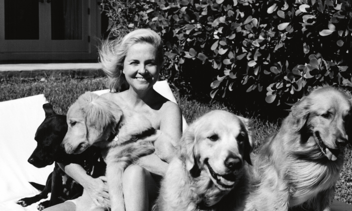 Cornelia Guest with her dogs in Long Island. (Bruce Weber/Cornelia Guest)