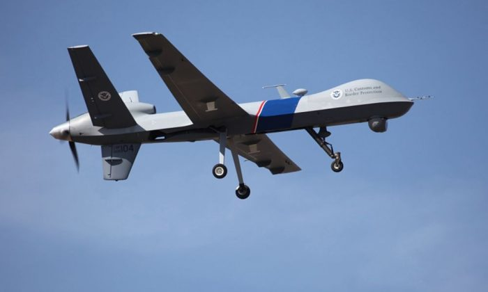 This undated photo provided by U.S. Customs and Border Protection shows an unmanned drone used to patrol the U.S.-Canadian border. Local, state and federal agencies ranging from local sheriff's offices to the North Dakota Army National Guard have borrowed unmanned surveillance drones from the Homeland Security Department nearly 700 times in the past three years, according to government records obtained by the Electronic Frontier Foundation. (AP Photo/U.S. Customs and Border Protection)