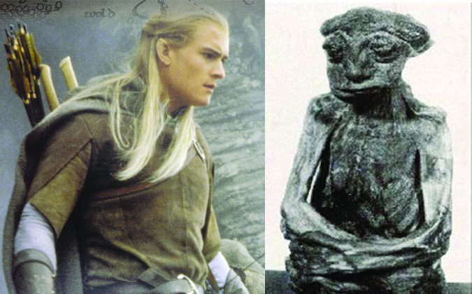 """Left: An elven character in """"Lord of the Rings,"""" Legolas as shown on a New Zealand stamp. (Shutterstock*) Right: A mummy found in the Pedro Mountains in Wyoming believed by some to be the remnants of an elf. (Wikimedia Commons)"""