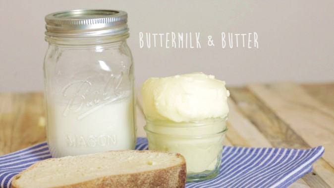 Homemade Cultured Butter & Buttermilk. (Courtesy of FoodEaseTv)