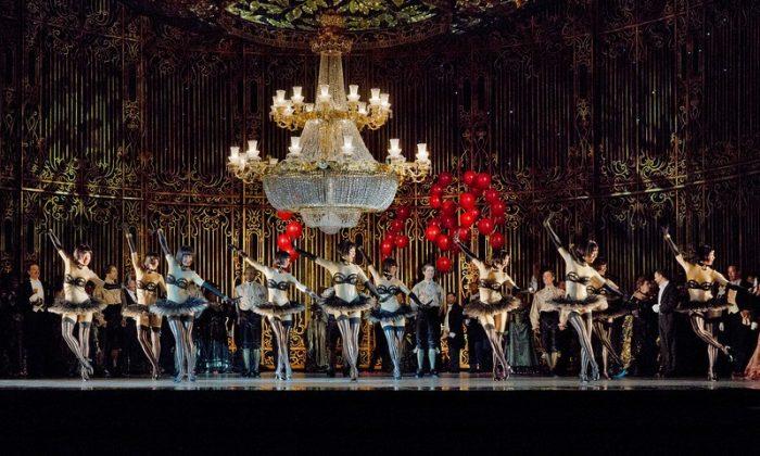 "The sumptuous set of Act 2 in the Jeremy Sams staging of Johann Strauss, Jr.'s ""Die Fledermaus."" Photo: Ken Howard/Metropolitan Opera"