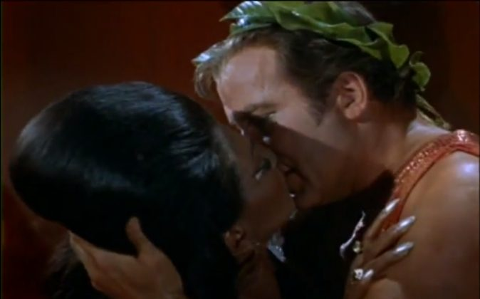 Captain Kirk kisses Lieutenant Uhura on what is popularly cited as TV's first interracial kiss.