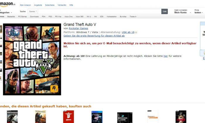 (Screenshot of Amazon's German website)