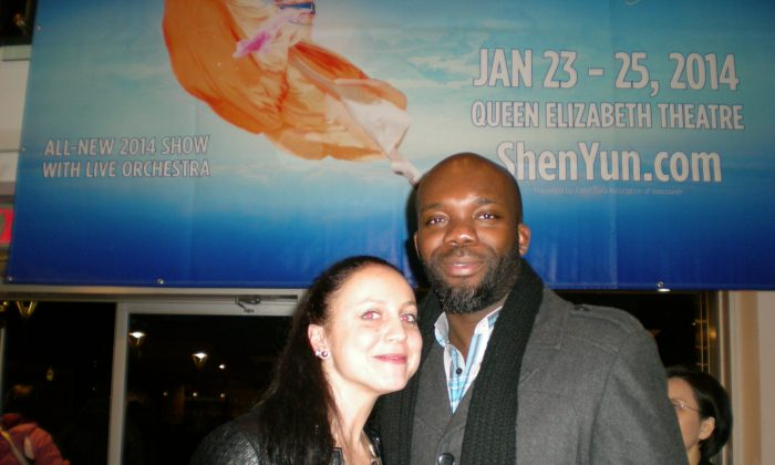 Hip hop dance instructor Koffi Noumedor and Social worker Melodie Zali attended Shen Yun Performing Arts at the Queen Elizabeth Theatre in Vancouver on Jan. 26, 2014. (Ryan Moffatt/Epoch Times)