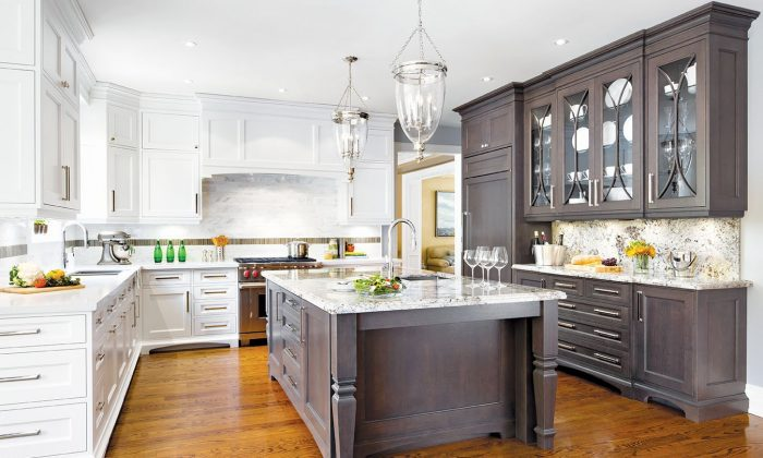 A large family kitchen renovated to feature coastal style design elements. (Brandon Barré Photography)