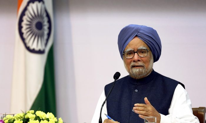 Indian Prime Minister Manmohan Singh addresses a press conference in New Delhi on January 3, 2014. India's Prime Minister Manmohan Singh announced that he will step down after elections this year, and said the next generation of the Gandhi dynasty should replace him if the ruling Congress party wins an unlikely third term. (Harish Tyagi/AFP/Getty Images)