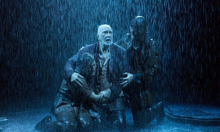 "(L–R) The Fool (Harry Melling), King Lear (Frank Langella), and Kent (Steven Pacey) suffering the blowing winds that ""crack your cheeks!"" (Richard Termine)"